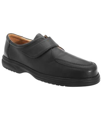 Roamers Mens Superlite Wide Fit Touch Fastening Leather Shoes (Black) - UTDF119