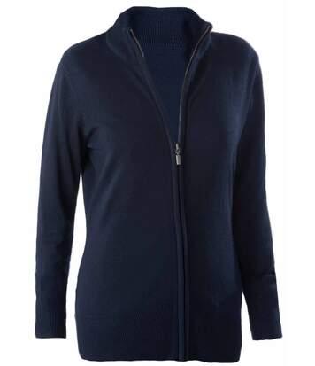 Gilet zippé cardigan K962 - femme - bleu marine