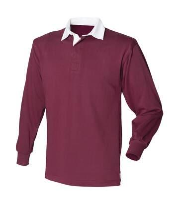 Front Row - T-Shirt De Rugby À Manches Longues En Coton - Homme (Bordeaux) - UTRW473