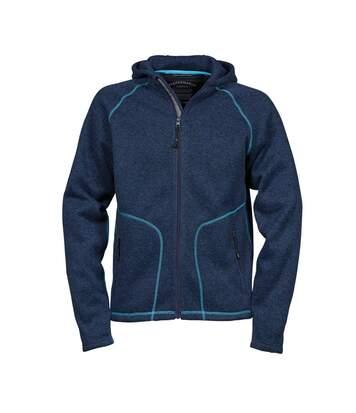 Tee Jays Mens Aspen Hooded Zip Up Fleece Jacket (Navy/Turquoise) - UTBC3832