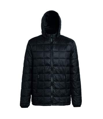 2786 Mens Box Quilt Hooded Zip Up Jacket (Black) - UTRW5263