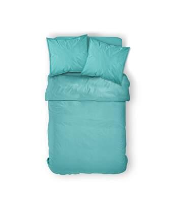 Parure de lit Diabolo menthe - 100% coton - 240 x 260 cm - Bleu turquoise