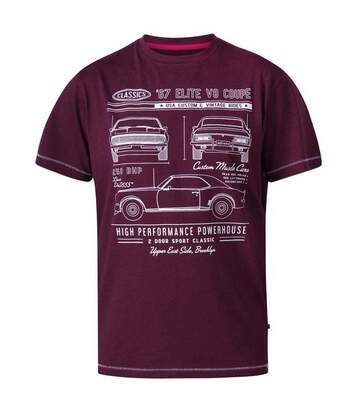 Duke Mens Brady D555 Classic Cars T-Shirt (Burgundy Marl) - UTDC283