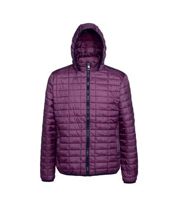 2786 Mens Honeycomb Padded Hooded Jacket (Mulberry) - UTRW5018