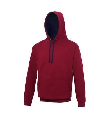 Sweat à capuche contrastée unisexe - JH003 - rouge bordeau et bleu marine