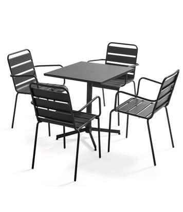 Table de jardin bistrot carrée rabattable et 4 fauteuils en métal Palavas