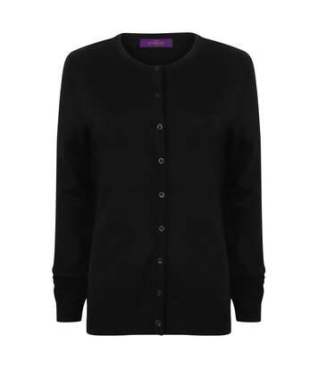 Henbury Womens/Ladies V-Neck Cashmere Touch Button Up Cardigan (Black) - UTRW4758