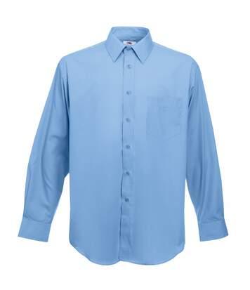 Chemise À Manches Longues En Popeline Fruit Of The Loom Pour Homme (Bleu moyen) - UTBC405