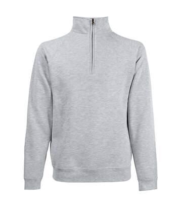 Fruit Of The Loom Mens Zip Neck Sweatshirt (Heather Grey) - UTBC358
