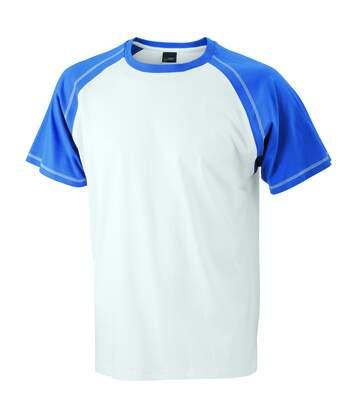 T-shirt bicolore pour homme JN010 - blanc et bleu roi