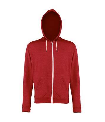 Awdis - Sweatshirt Léger À Capuche Et Fermeture Zippée - Homme (Rouge chiné) - UTRW184