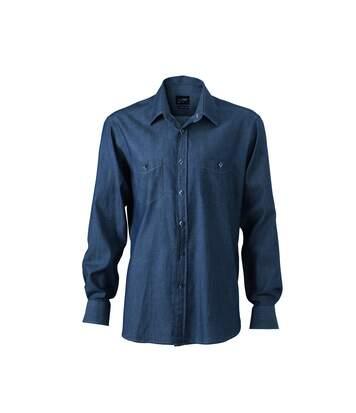 chemise manches longues jean Denim HOMME JN629 - bleu foncé