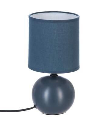 Atmosphera - Lampe en céramique Pied Boule Bleu mat H 25 cm