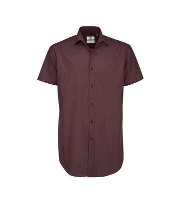 B&C Mens Black Tie Short Sleeve Formal Work Shirt (Luxurious Red) - UTRW3522