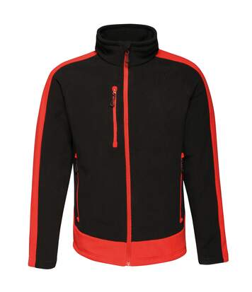 Regatta Contrast Mens 300 Fleece Top/Jacket (Black/Classic Red) - UTRW6352