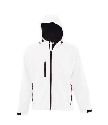 SOLS Mens Replay Hooded Soft Shell Jacket (Breathable, Windproof And Water Resistant) (White) - UTPC410