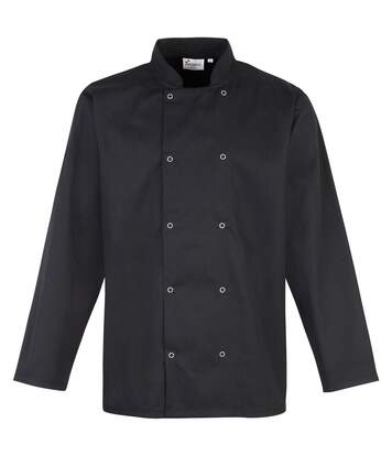 Premier Studded Front Long Sleeve Chefs Jacket / Chefswear (Black) - UTRW4403