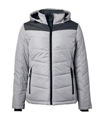 Veste matelassée à capuche - doudoune - JN1133 - gris argent - femme