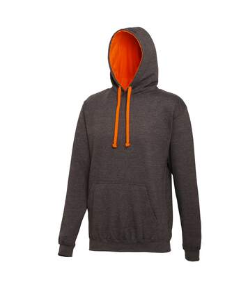 Awdis Varsity Hooded Sweatshirt / Hoodie (Purple/Heather Grey) - UTRW165