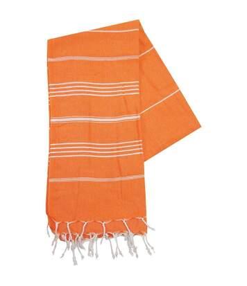 Serviette de plage - fouta - hammam - T1-HAM - orange et blanc