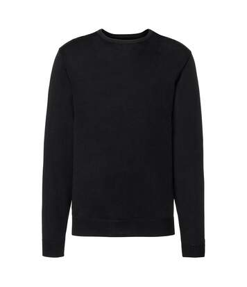 Russell Collection Mens Crew Neck Knitted Pullover Sweatshirt (Black) - UTRW6079