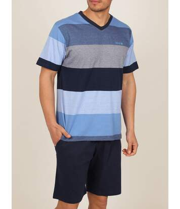 Tenue d'intérieur pyjama short t-shirt Stay Stripes bleu Admas