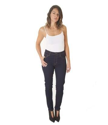 Jeans Taille Haute Super Stretch Denim Brut