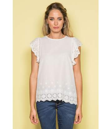Top avec broderies anglaises ERIS Off White
