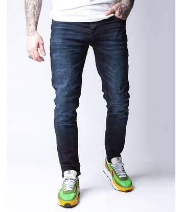 Jean bleu foncé tendance coupe straight slim pour homme