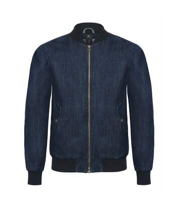 B&C Denim Mens Supremacy Denim Bomber Jacket (Deep Blue Denim) - UTRW3058