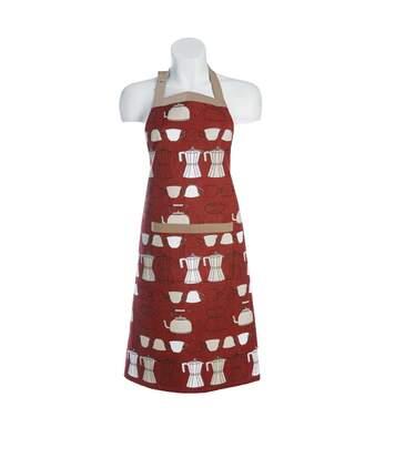 Tablier de cuisine 72x86 cm COCINA Rouge motifs théière et cafetières