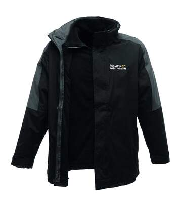 Regatta Mens Defender III 3-in-1 Waterproof Windproof Jacket / Performance Jacket (Black/Seal Grey) - UTRG1597