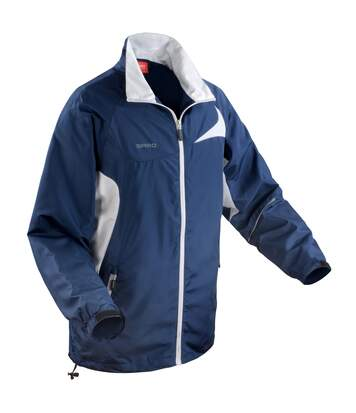 Spiro Mens Micro-Lite Performance Sports Jacket (Water Repellent, Wind Resistant & Breathable) (Navy/White) - UTRW1474