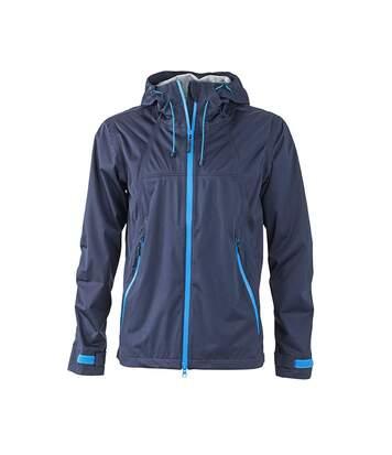 Veste softshell à capuche - homme JN1098 bleu marine - coupe-vent imperméable