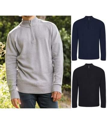 Lot 3 Pulls col zippé homme - gris, bleu et noir
