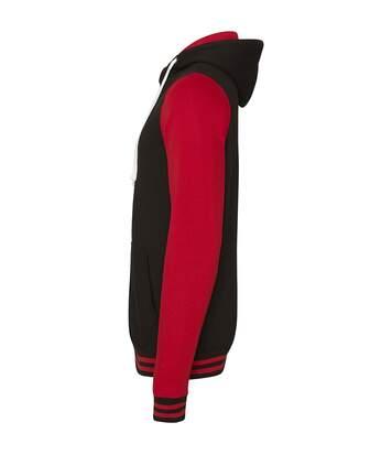 AWDis Just Hoods Adults Unisex Urban Varsity Full Zip Hoodie (Jet Black/Fire Red) - UTRW3938