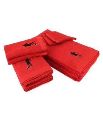 Parure de bain 8 pièces 100% coton 550 g/m2 PURE FOOTBALL Rouge
