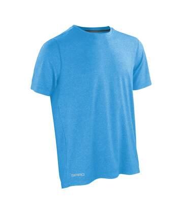 Spiro Mens Shiny Marl Short Sleeve Fitness T-Shirt (Ocean Blue / Phantom Grey) - UTRW4773