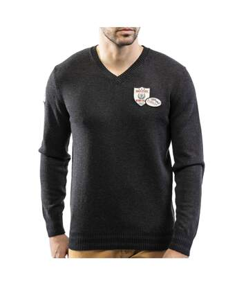 Pull col V patch coton laine