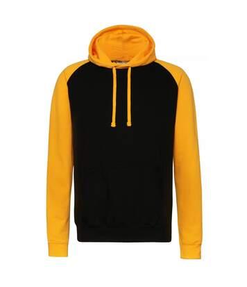 Awdis Just Hoods Adults Unisex Two Tone Hooded Baseball Sweatshirt/Hoodie (Jet Black/Sapphire Blue) - UTRW3928