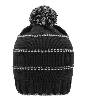 Bonnet tricot à pompon surpiqûres contrastées - MB7144 - noir