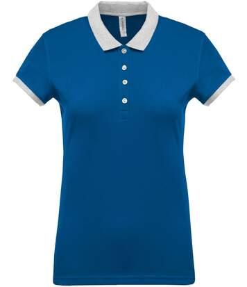 Polo bicolore pour femme - K259 - bleu roi - manches courtes