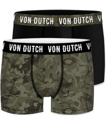 VON DUTCH Lot de 2 Boxers Homme Coton BCX2 CAM1 Vert Noir
