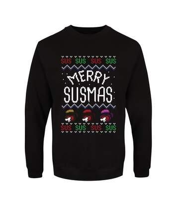 Grindstore Pull de Noël Merry Susmas pour hommes (Noir) - UTGR4725