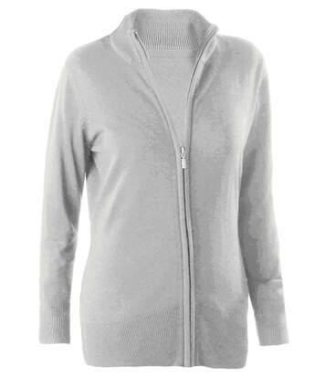 Gilet zippé cardigan K962 - femme - gris
