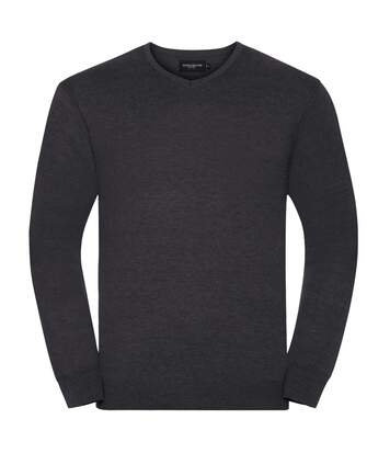 Russell Collection Mens V-Neck Knitted Pullover Sweatshirt (Charcoal Marl) - UTBC1012