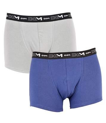 Boxer DIM Homme en coton stretch ultra Confort -Assortiment modèles photos selon arrivages- Pack de 2 Boxers Marine Ardoise