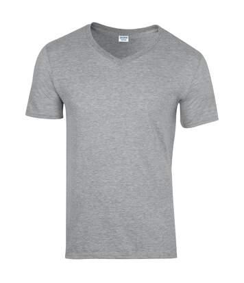 Gildan Mens Soft Style V-Neck Short Sleeve T-Shirt (Sport Grey (RS)) - UTBC490
