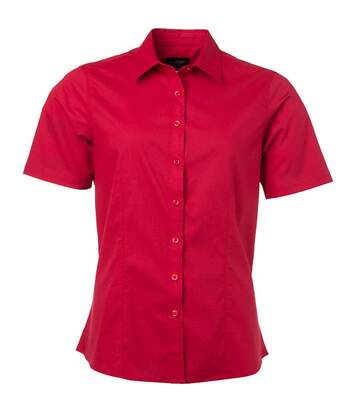 chemise popeline manches courtes - JN679 - femme - rouge