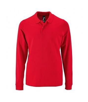 SOLS Mens Perfect Long Sleeve Pique Polo Shirt (Red) - UTPC2912